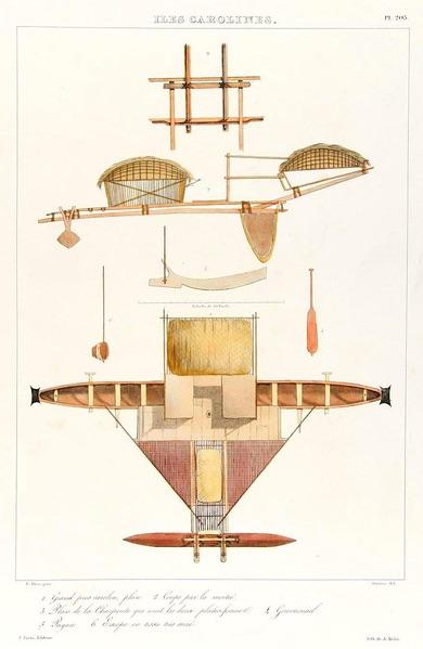 Lithograph of Caroline Islands Watercraft, by Admiral François-Edmond Pâris